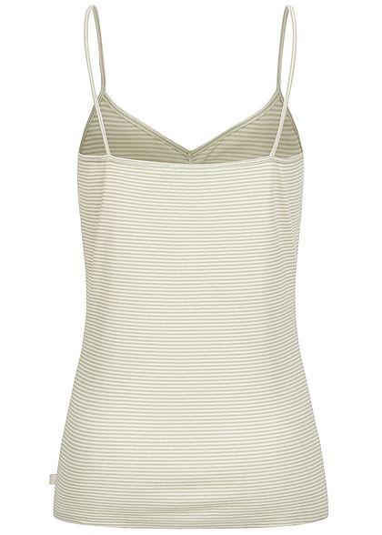 Tom Tailor Damen V-Neck Top Raffung vorne Streifen Muster grün weiss