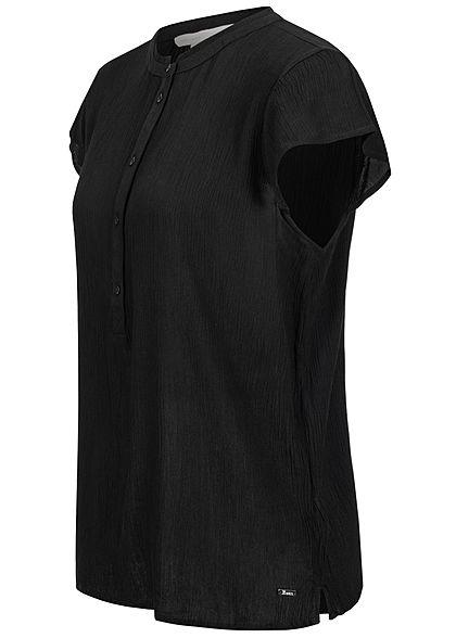 Tom Tailor Damen Krepp Blusen Shirt Volantärmel halbe Knopfleiste schwarz