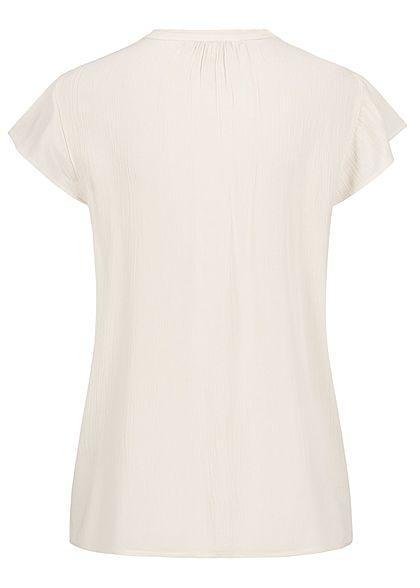 Tom Tailor Damen Krepp Blusen Shirt Volantärmel halbe Knopfleiste soft creme beige
