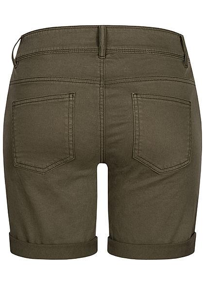 Tom Tailor Damen Bermuda Shorts 5-Pockets Beinumschlag grape leaf oliv grün