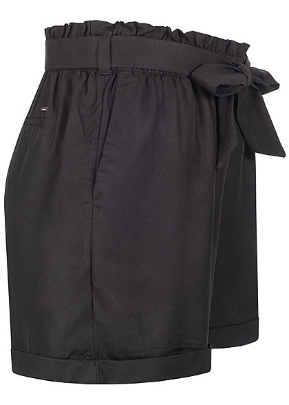 Tom Tailor Damen Shorts inkl. Bindegürtel Beinumschlag schwarz