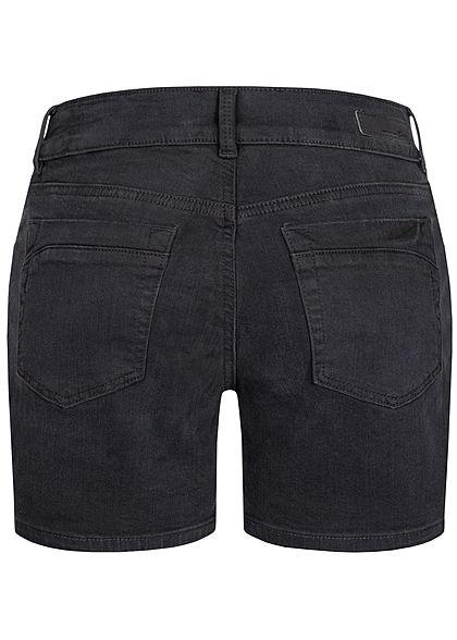 Tom Tailor Damen kurze Jeans Shorts Low-Waist 5-Pockets used dark stone schwarz denim