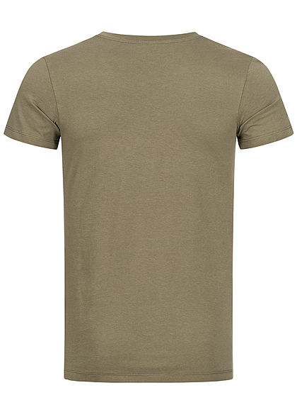 Tom Tailor Herren T-Shirt Logo Print dry greyish oliv grün