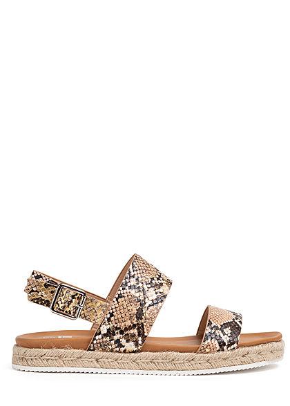 Seventyseven Lifestyle Damen Schuh Kunstleder Sandale Schlangenhautoptik khaki