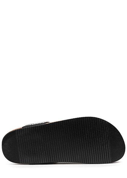 Seventyseven Lifestyle Damen Schuh Zehensteg Sandale Deko Perlen schwarz