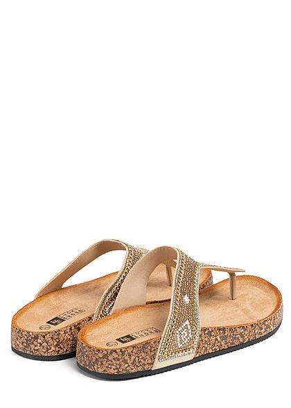 Seventyseven Lifestyle Damen Schuh Zehensteg Sandale Deko Perlen gold