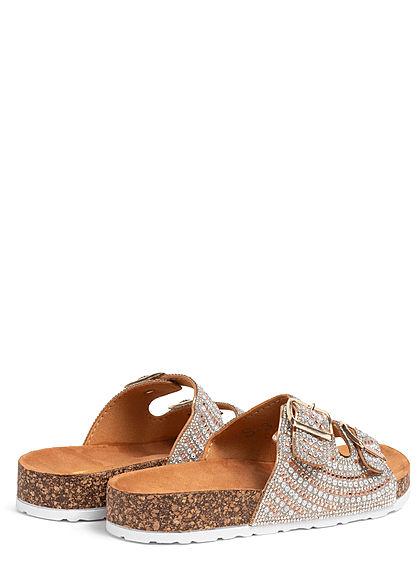 Seventyseven Lifestyle Damen Schuh Sandale Strassteine mit Doppelschnalle champgane rose
