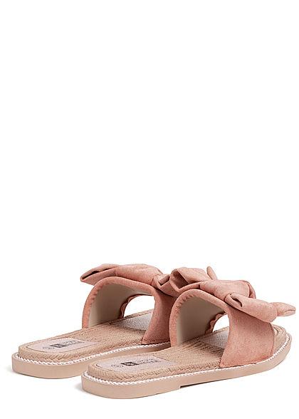 Seventyseven Lifestyle Damen Schuh Sandale Materialmix Deko Schleife Velouroptik rosa