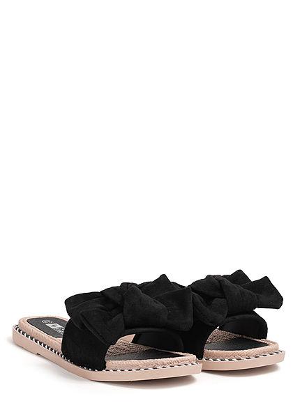 Seventyseven Lifestyle Damen Schuh Sandale Materialmix Deko Schleife Velouroptik schwarz