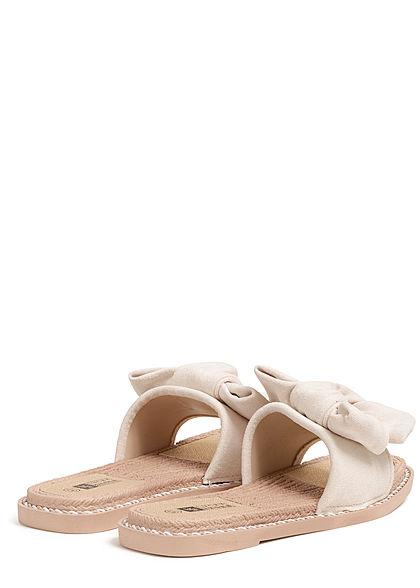 Seventyseven Lifestyle Damen Schuh Sandale Materialmix Deko Schleife Velouroptik beige