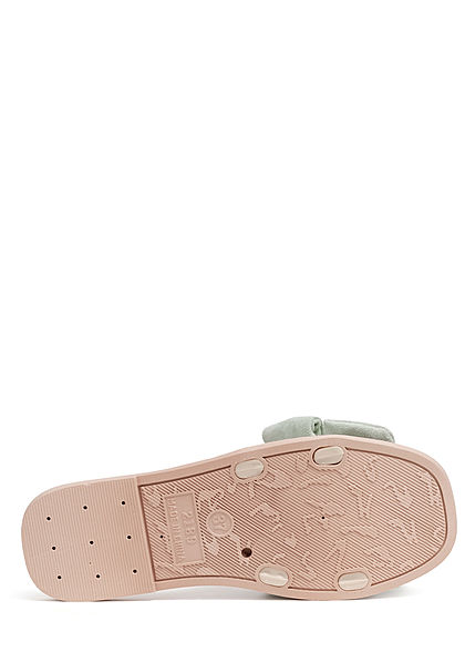 Seventyseven Lifestyle Damen Schuh Sandale Materialmix Deko Schleife Velouroptik grün