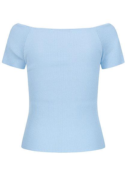 ONLY Damen Ribbed Off-Shouder T-Shirt cashmere blau