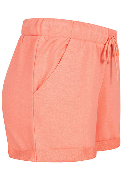 ONLY Damen Sweat Shorts Tunnelzug 2-Pockets burnt coral orange