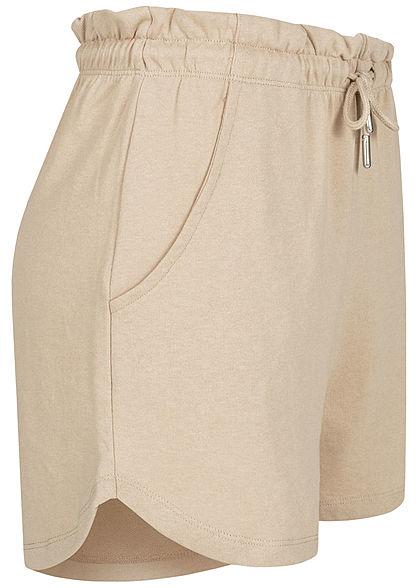 ONLY Damen Paperbag Shorts Tunnelzug 2-Pockets humus beige