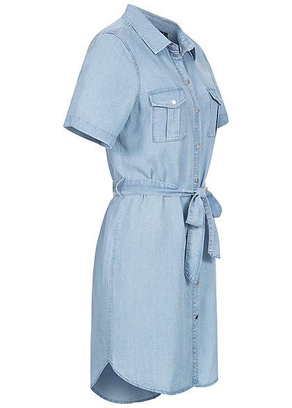 Vero Moda Damen NOOS Denim Blusen Kleid inkl. Bindegürtel Knopfleiste hell blau denim