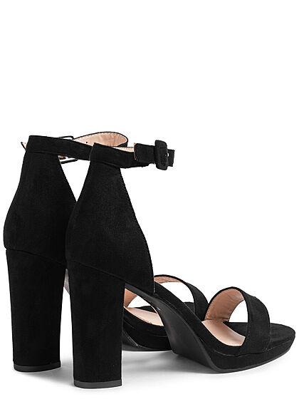 Seventyseven Lifestyle Damen Schuh Kunstleder Sandalette Absatz 9,5cm schwarz