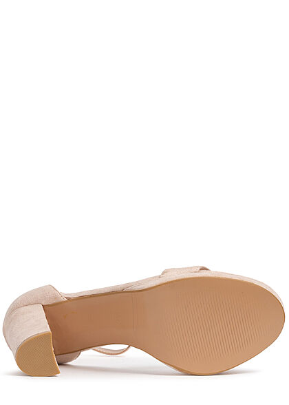 Seventyseven Lifestyle Damen Schuh Kunstleder Sandalette Absatz 9,5cm beige