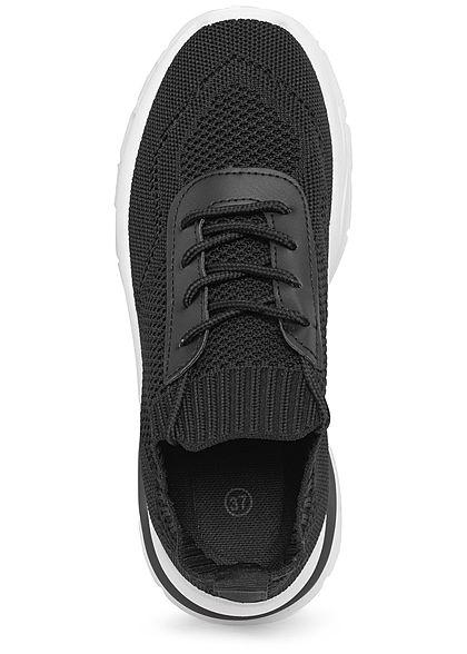 Seventyseven Lifestyle Damen Schuh Running Mesh Sneaker zum schnüren schwarz weiss