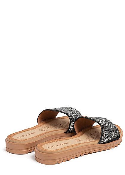 Seventyseven Lifestyle Damen Schuh Kunstleder Sandale mit Deko Strasssteinen schwarz