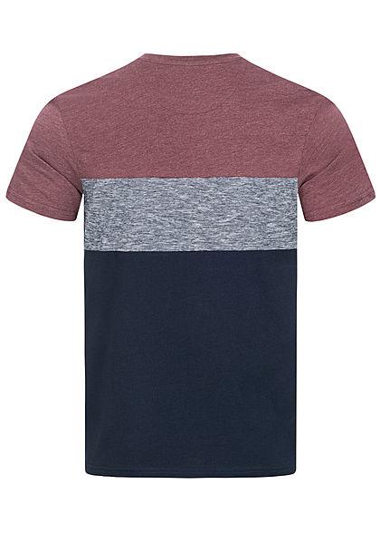 Tom Tailor Herren T-Shirt mit Streifen & einer Brusttasche dusty wildberry bordeaux rot