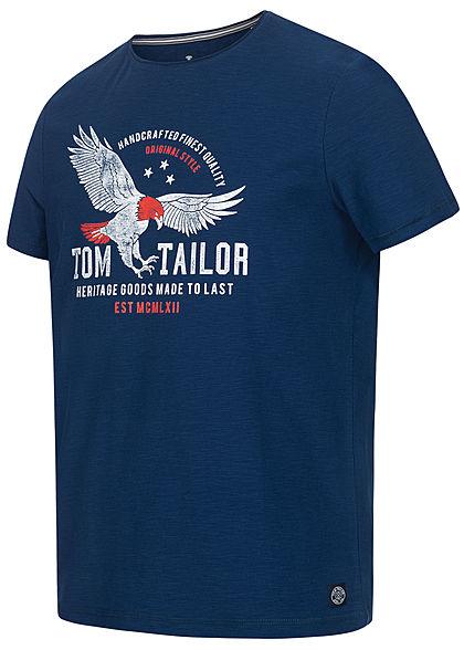Tom Tailor Herren T-Shirt Logo Adler Print estate blau