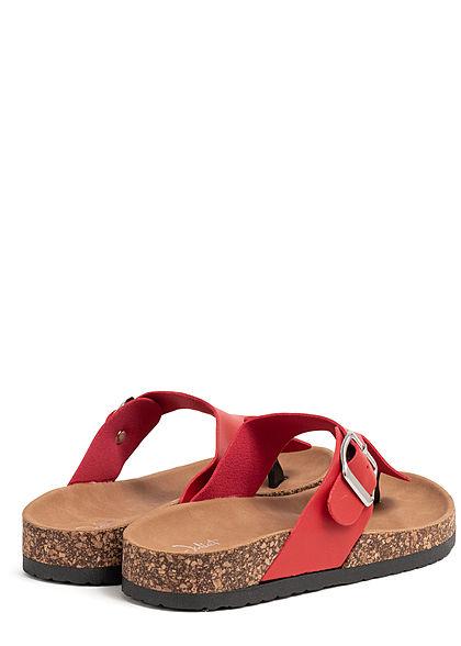 Seventyseven Lifestyle Damen Schuh Kunstleder Zehensteg Sandale kirsch rot