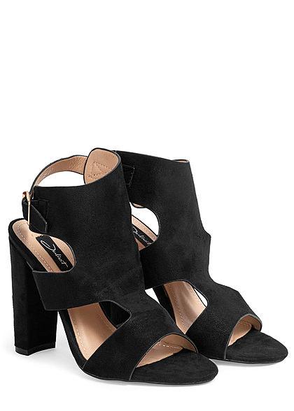 Seventyseven Lifestyle Damen Schuh Kunstleder Sandalette Absatz 11cm schwarz