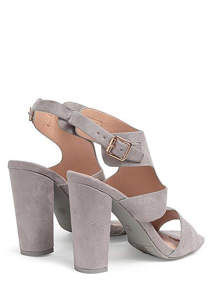 Seventyseven Lifestyle Damen Schuh Kunstleder Sandalette Absatz 11cm grau