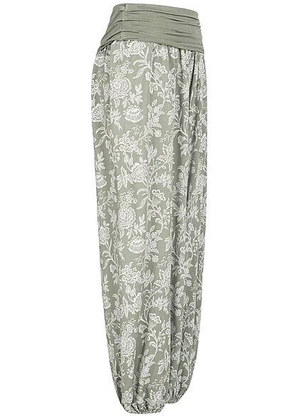 Hailys Damen weite Viskose Harem Stoffhose Floraler Print khaki grün