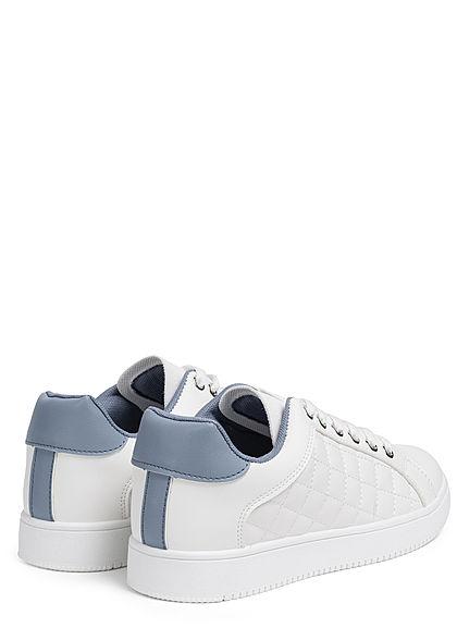 Seventyseven Lifestyle Damen Schuh Sneaker Kunstleder Quilted Optik weiss blau