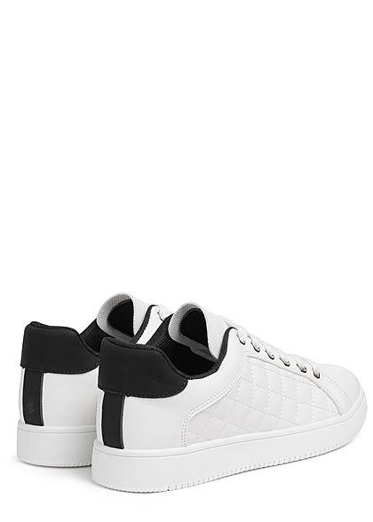 Seventyseven Lifestyle Damen Schuh Sneaker Kunstleder Quilted Optik weiss schwarz