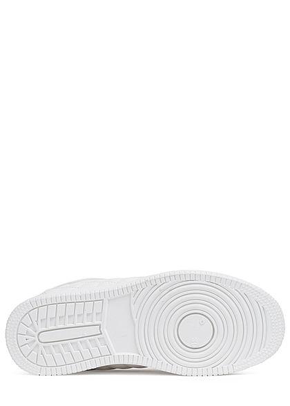 Seventyseven Lifestyle Damen Schuh Sneaker Kunstleder Quilted Optik weiss grau