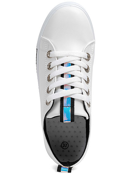 Seventyseven Lifestyle Damen Schuh Sneaker Kunstleder Holo Optik weiss schwarz