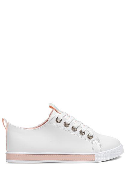Seventyseven Lifestyle Damen Schuh Sneaker Kunstleder Holo Optik weiss pink