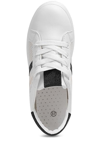 Seventyseven Lifestyle Damen Schuh Sneaker Kunstleder Glitzer Streifen weiss schwarz