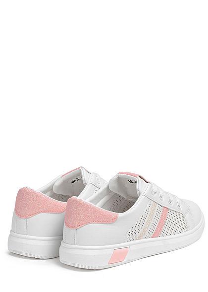 Seventyseven Lifestyle Damen Schuh Sneaker Kunstleder Glitzer Streifen weiss pink
