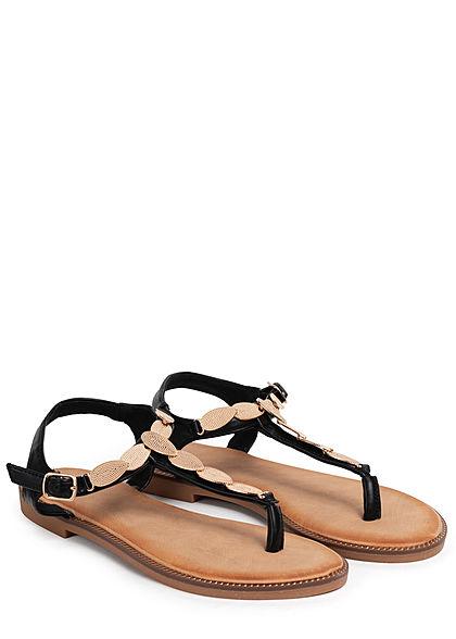 Seventyseven Lifestyle Damen Schuh Sandale Deko Applikation schwarz gold