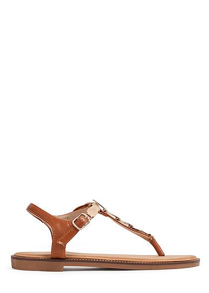 Seventyseven Lifestyle Damen Schuh Sandale Deko Applikation camel braun gold