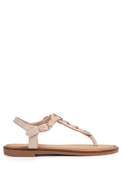 Seventyseven Lifestyle Damen Schuh Sandale Deko Applikation beige gold
