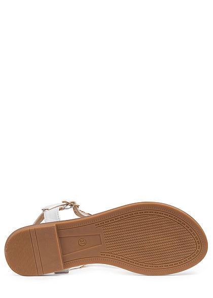 Seventyseven Lifestyle Damen Schuh Sandale Deko Applikation weiss gold