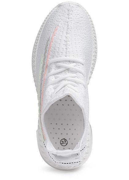Seventyseven Lifestyle Damen Schuh Running Mesh Sneaker Streifen weiss muticolor