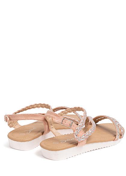 Seventyseven Lifestyle Damen Schuh Sandale Strasssteine Glitzer pink silber