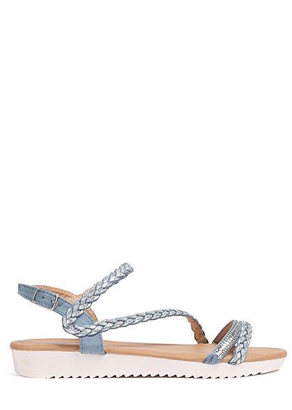 Seventyseven Lifestyle Damen Schuh Sandale Strasssteine Glitzer hell blau silber