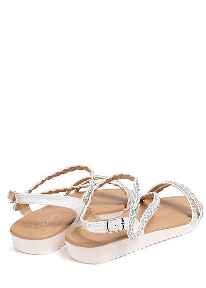 Seventyseven Lifestyle Damen Schuh Sandale Strasssteine Glitzer weiss silber