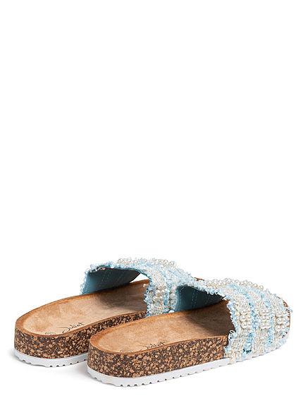 Seventyseven Lifestyle Damen Schuh Sandale Perlen Glitzer Streifen blau weiss