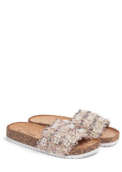 Seventyseven Lifestyle Damen Schuh Sandale Perlen Glitzer Streifen pink rosa weiss