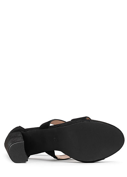 Seventyseven Lifestyle Damen Schuh Sandale Verlours Optik Absatz 10cm schwarz