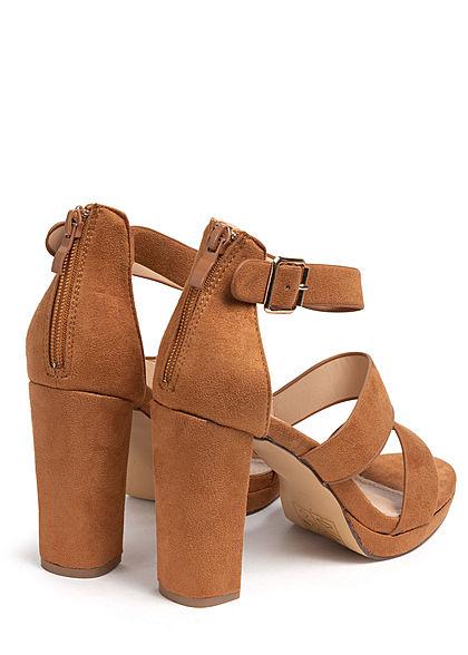 Seventyseven Lifestyle Damen Schuh Sandale Verlours Optik Absatz 10cm camel braun