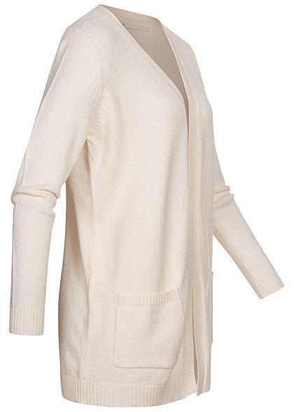 ONLY Damen NOOS Cardigan 2-Pockets offener Schnitt whitecap gray melange