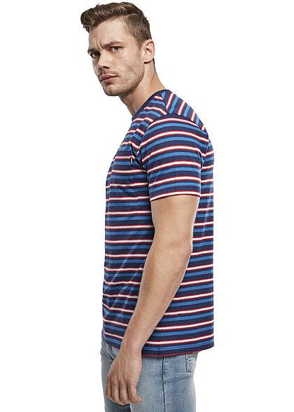 Urban Classics Herren T-Shirt Streifen Muster Brusttasche dunkel blau city rot weiss